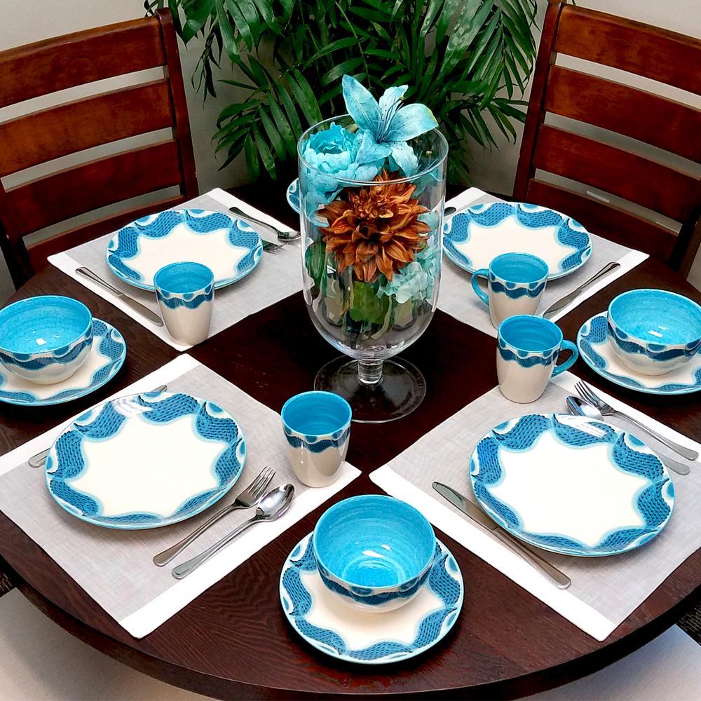 Seashore Breeze 16-Piece Blue Dinnerware Set