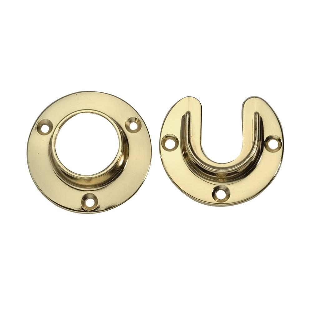 Lido Designs 1 5 16 In Polished Brass Heavy Duty Closet Rod Flange Set Of Pair Lb 00 505set