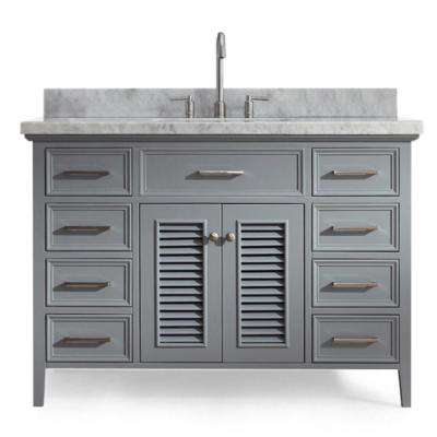 Kensington 49 in. Bath Vanity in Grey with Marble Vanity Top in Carrara White with White Basin