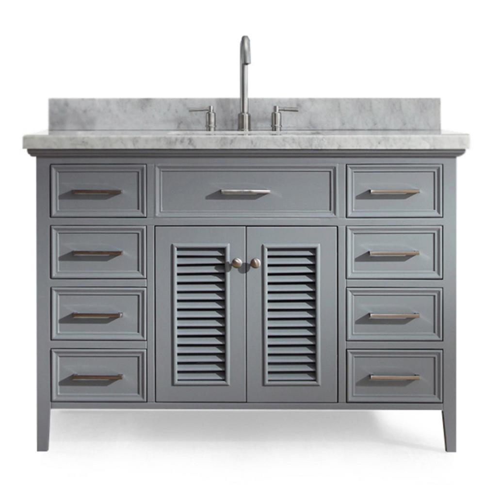 Kensington 49 in. Bath Vanity in Grey with Marble Vanity Top in Carrara White with White Basin