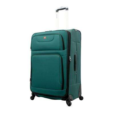 28 in. Teal and Black Spinner Suitcase