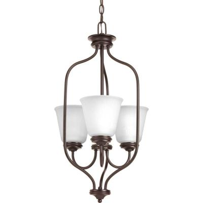 Keats Collection 3-Light Antique Bronze Chandelier with Frosted Ribbed Glass