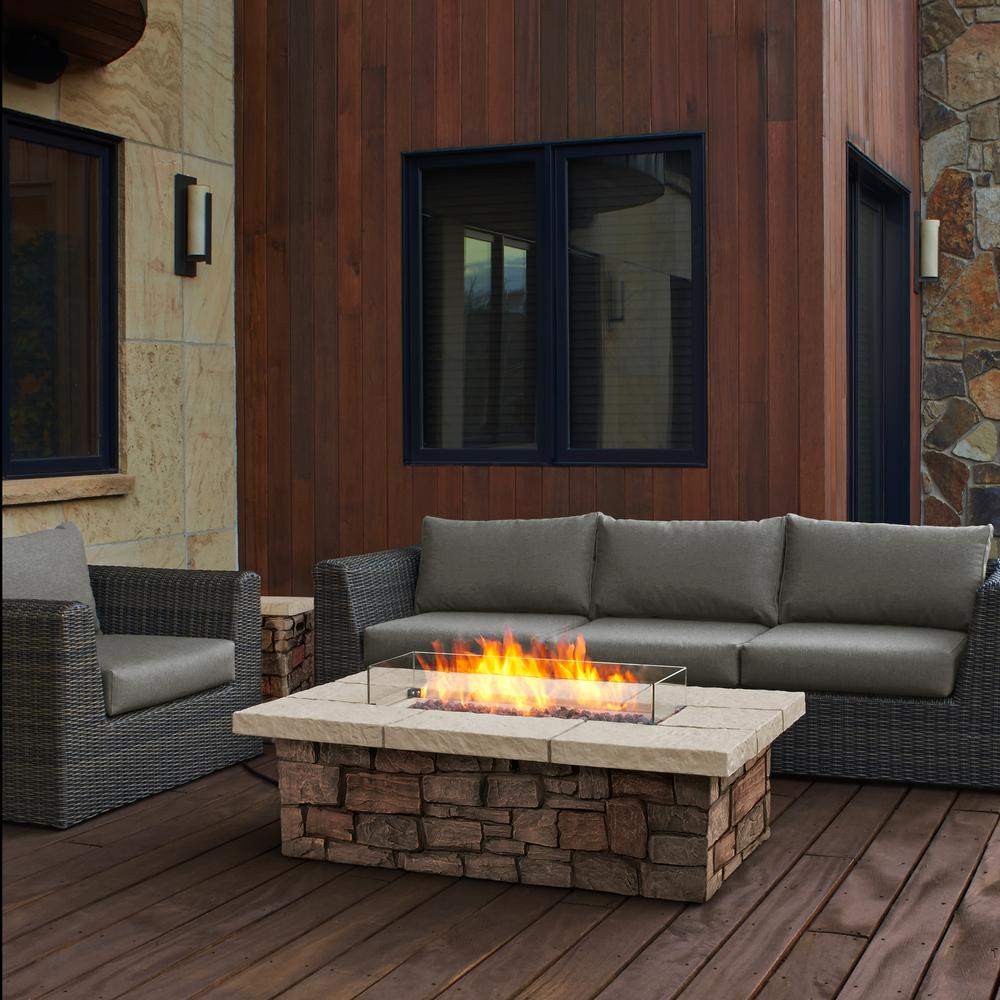 Sedona 52 in. x 19 in Rectangle Fiber-Concrete Propane Fire Pit