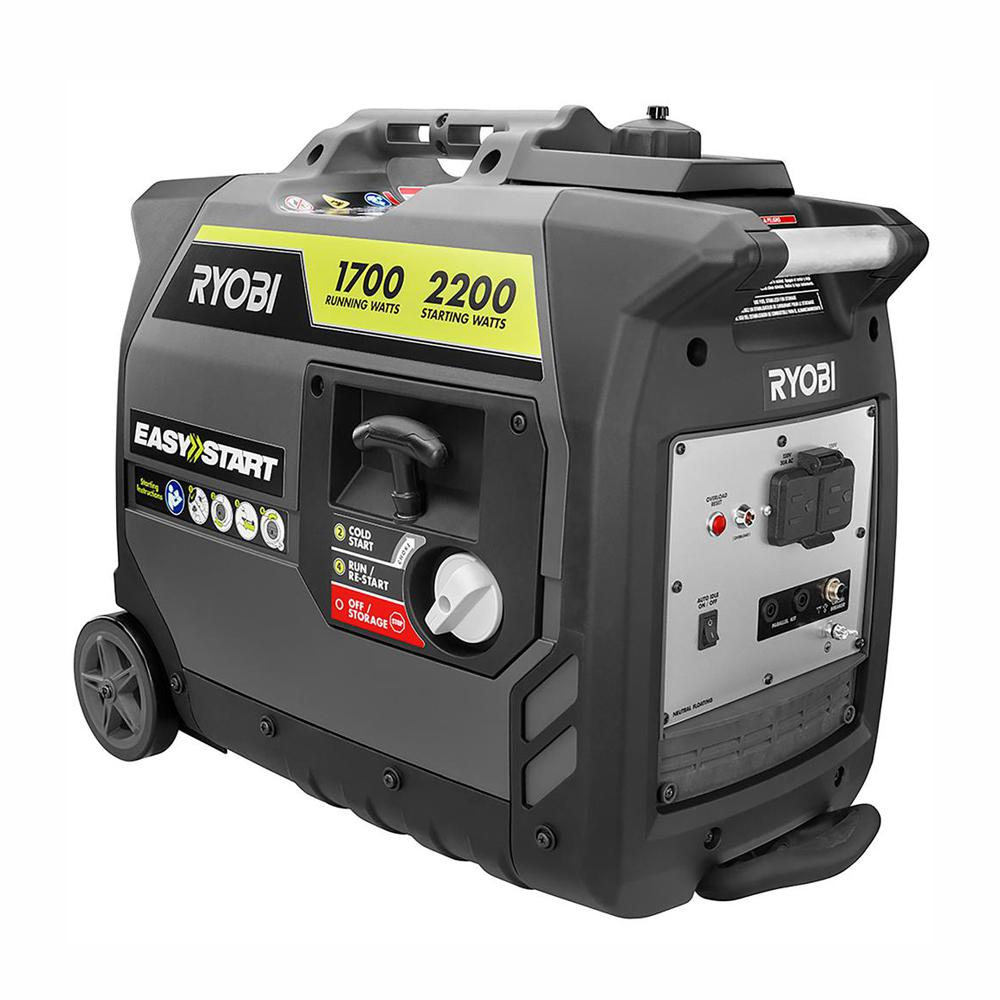 RYOBI 2,200 Starting Watt Gray Gasoline Powered Digital Inverter Generator