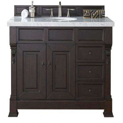 Brookfield 48 in. W Single Vanity with Drawers in Burn Mahogany with Marble Vanity Top in Carrara White with White Basin