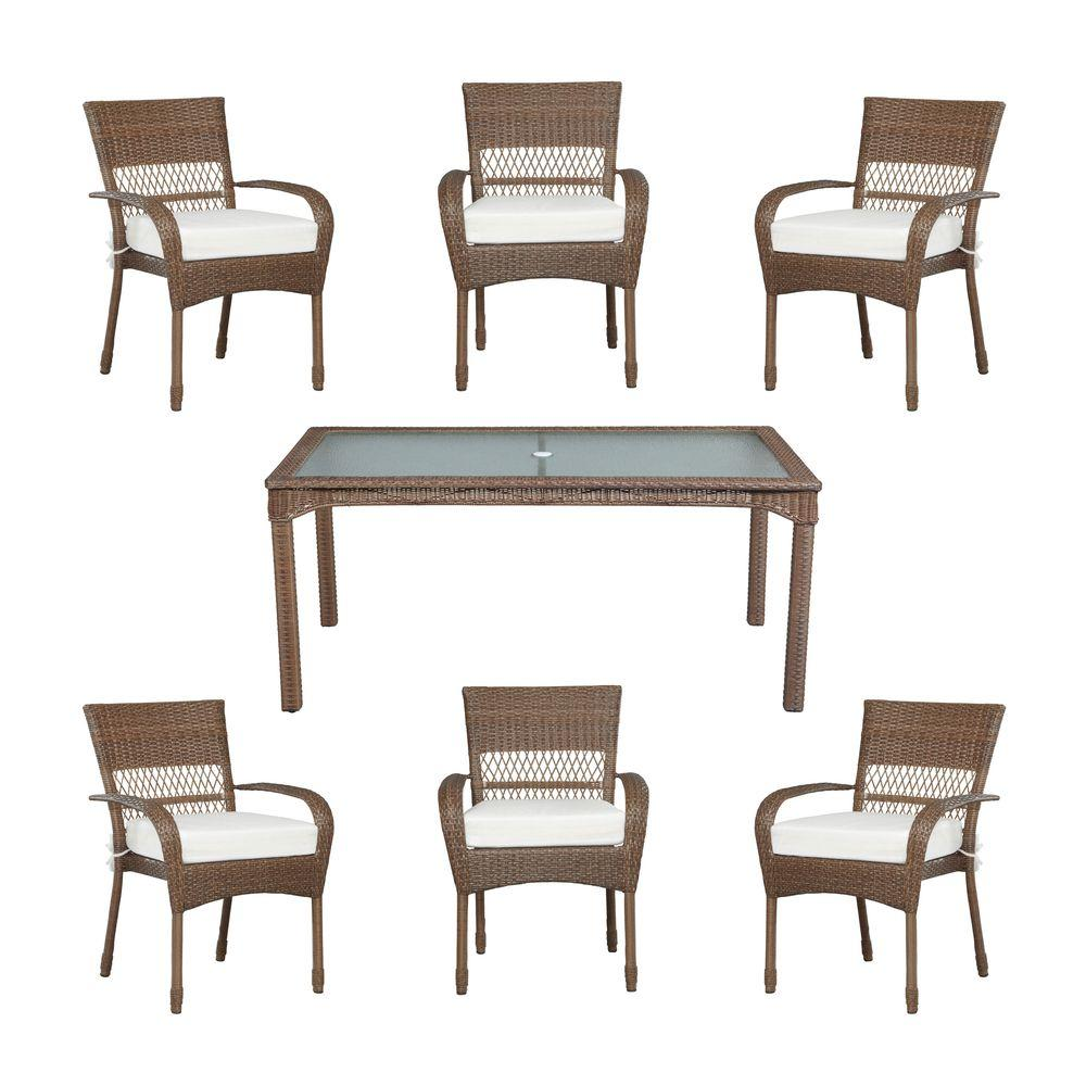 Martha Stewart Living Charlottetown Brown All Weather 7 Piece Wicker Patio  Dining Set With