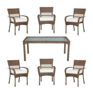 Charlottetown Brown All Weather 7 Piece Wicker Patio Dining Set With Bare  Cushions. Martha Stewart Living Charlottetown ...