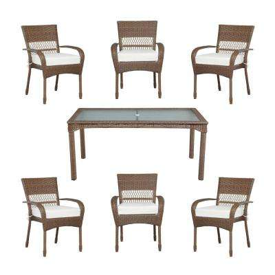 Charlottetown Brown All-Weather 7-Piece Wicker Patio Dining Set with Bare Cushions