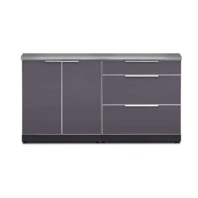 Aluminum 3-Piece 64 in. W x 36.5 in. H x 24 in. D Outdoor Kitchen Cabinet Set with Countertop