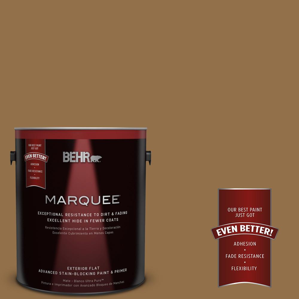 BEHR MARQUEE 1-gal. #N280-7 Brass Button Flat Exterior Paint
