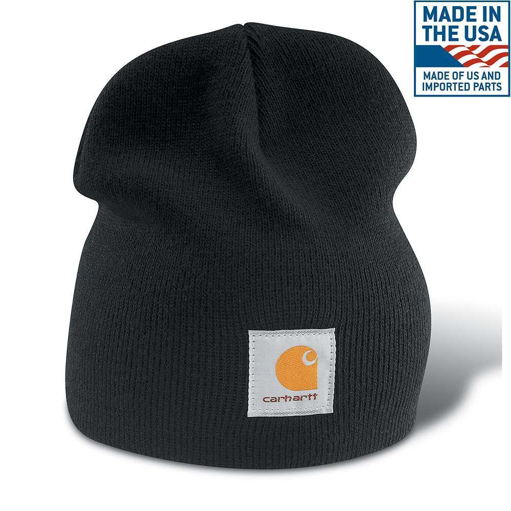 437c8e9d Carhartt Men's OFA Black Acrylic Hat Headwear-A205-BLK - The Home Depot