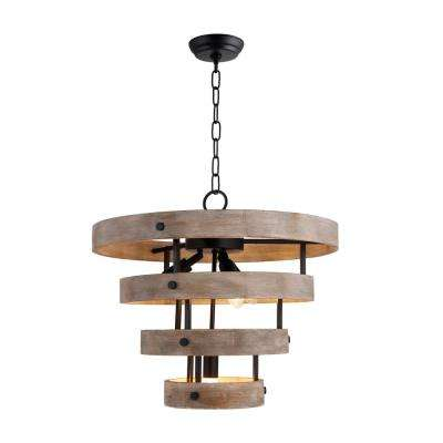 4-Light Matte Black and Natural Wood Candle-Style Wood Drum Chandelier