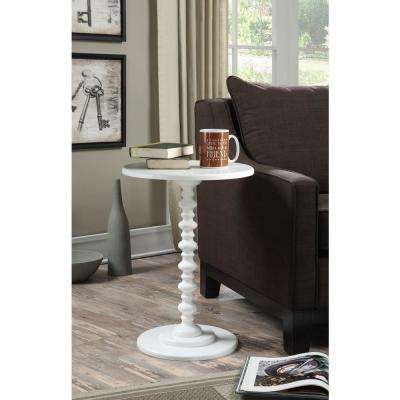 Palm Beach White Spindle End Table