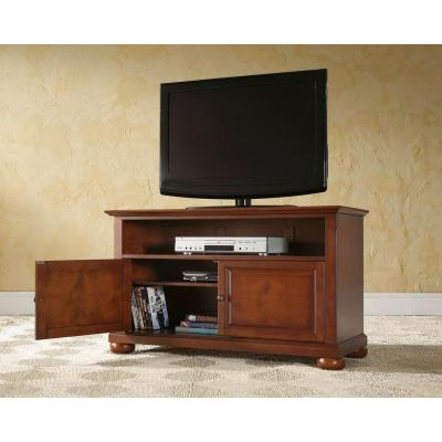 Alexandria 42 in. Cherry Wood TV Stand Fits TVs Up to 44 in. with Storage Doors