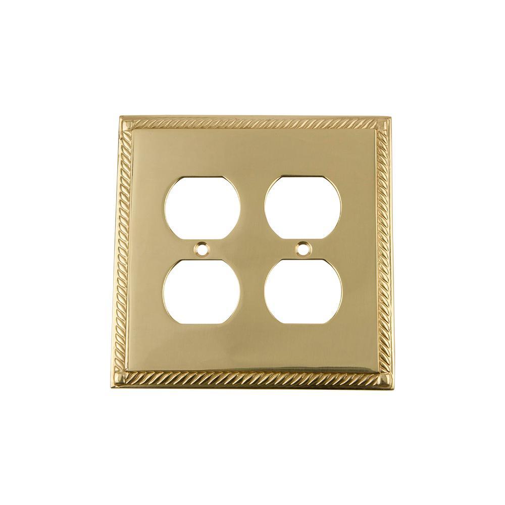 Brass 2-Gang Duplex Outlet Wall Plate (1-Pack)