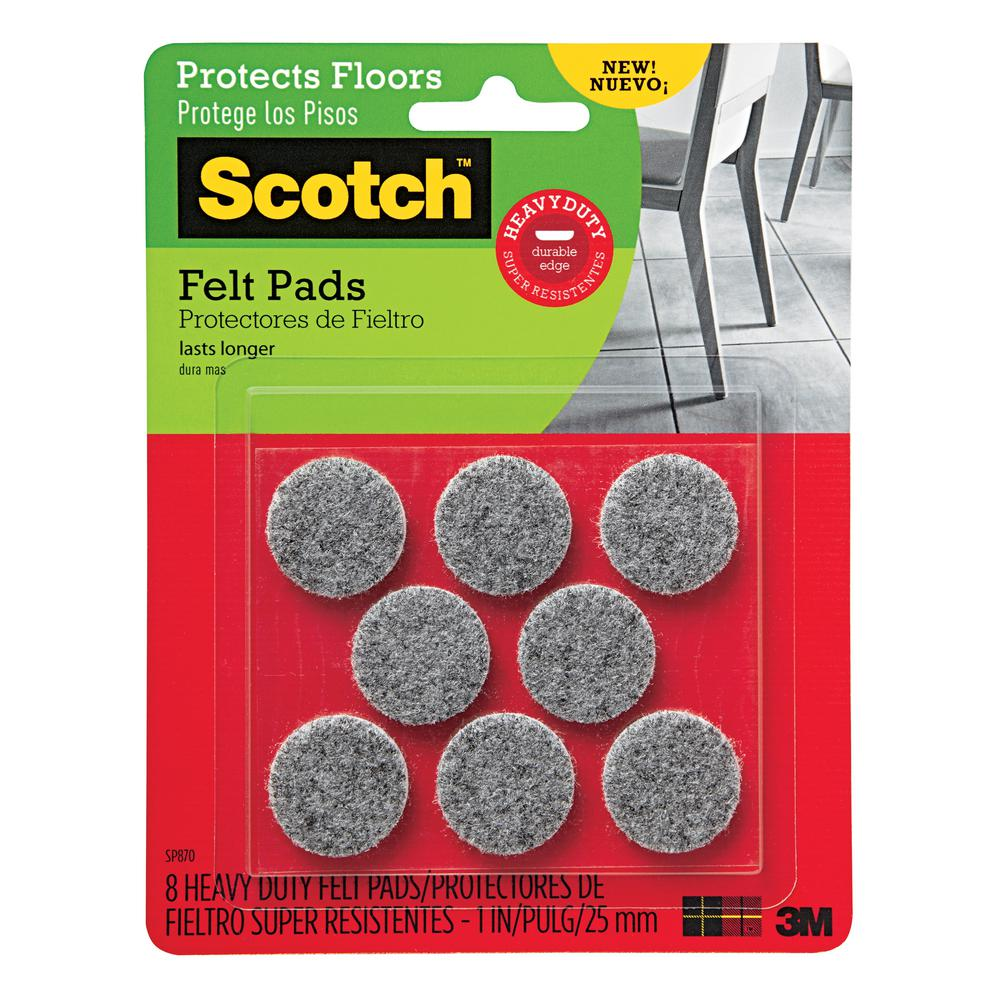 Scotch 1 in. Gray Round Heavy Duty Surface Protection Felt Floor