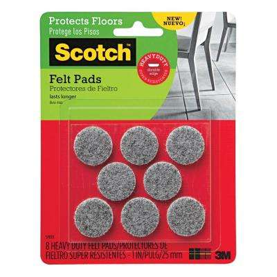 Scotch 1 in. Gray Round Heavy Duty Surface Protection Felt Floor Pads ((8-Pack)(Case of 24))