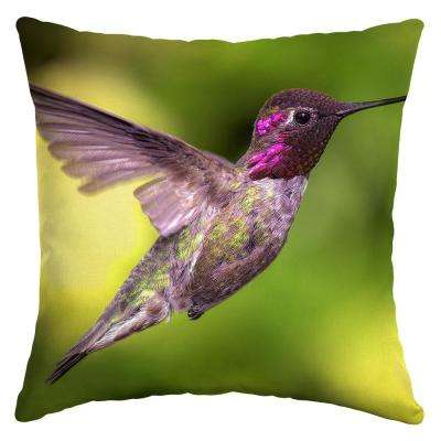 Hummingbird Flight Square Outdoor Throw Pillow