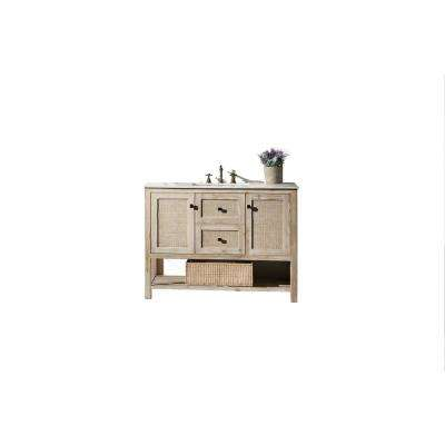 48 in.White Wash Vanity in White Marble Vanity Top with White Basin