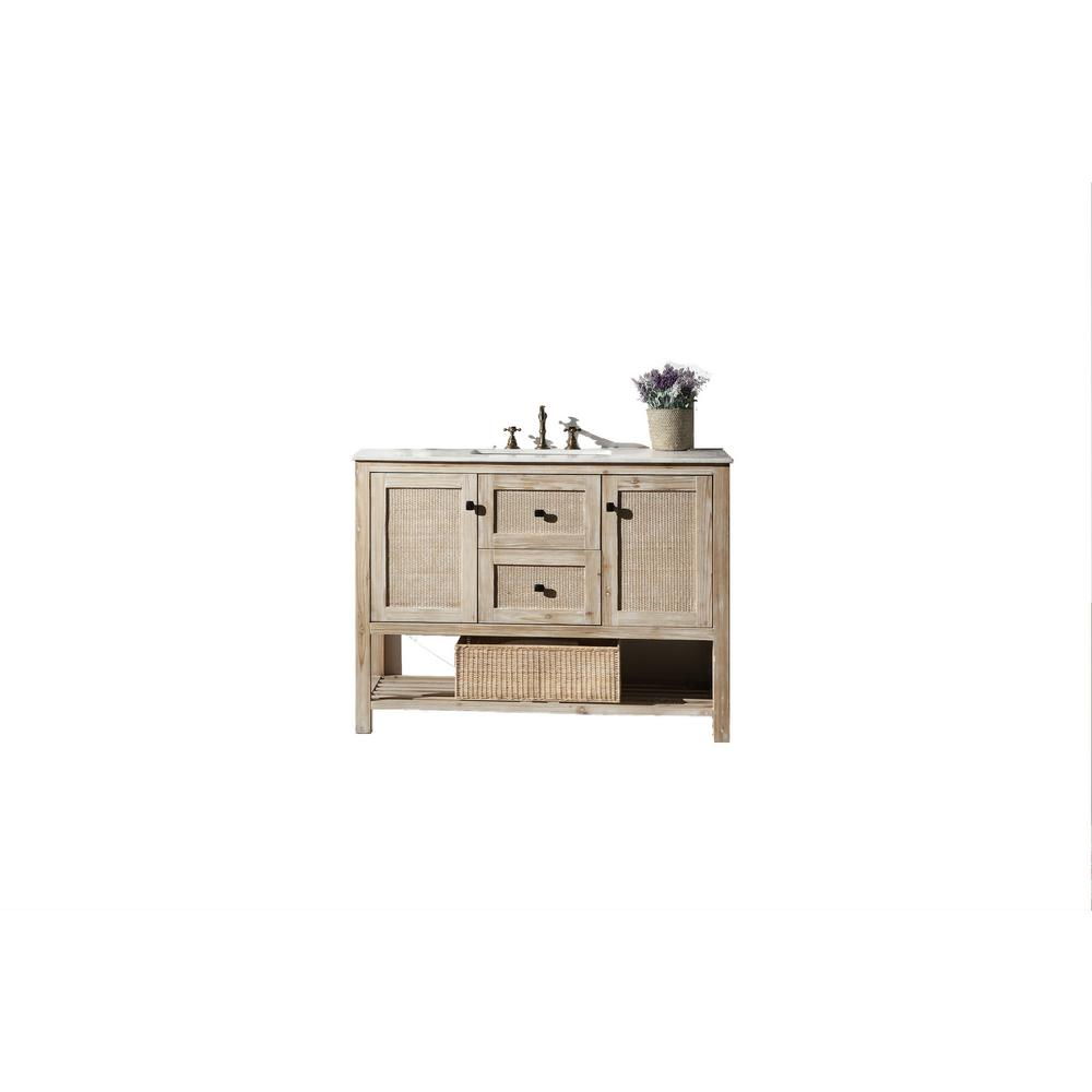 48 in.White Wash Vanity in White Marble Vanity Top with White