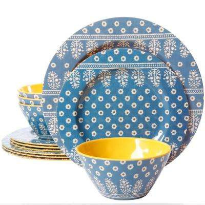 Zoey 12-Piece Blue and Yellow Dinnerware Set
