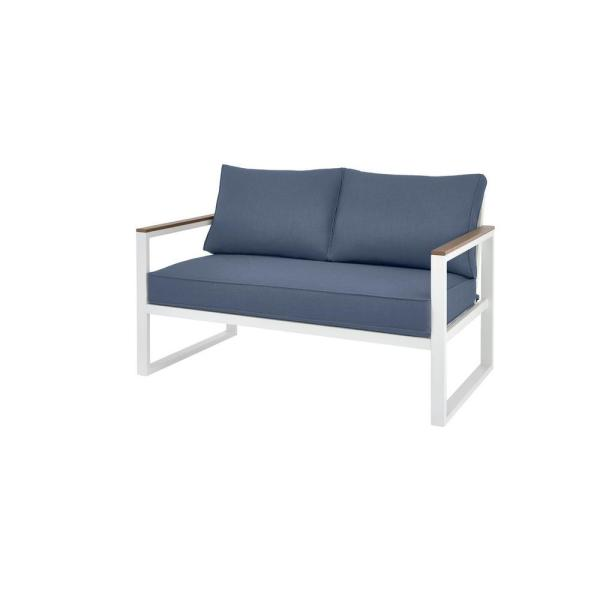 West Park White Aluminum Outdoor Patio Loveseat with CushionGuard Sky Blue Cushions