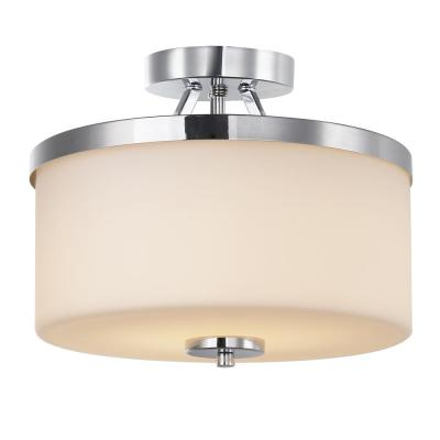 12 in. Chrome Integrated LED Semi-Flush Mount with Frosted Shade