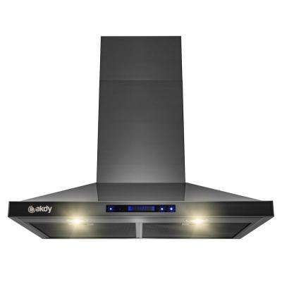 30 in. Wall Mount Black Stainless Steel Kitchen Range Hood with Touch Panel