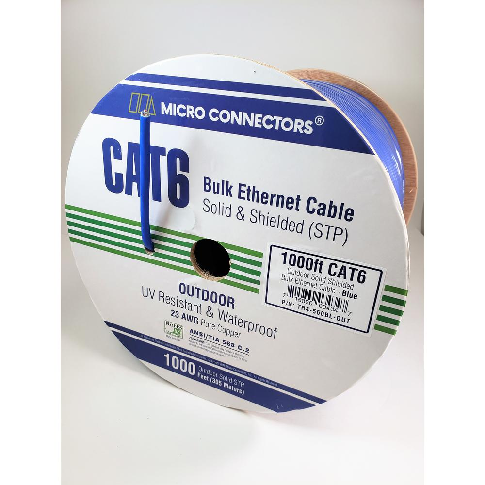 Micro Connectors 1000 ft. Blue Solid Shielded (STP) CAT6 Outdoor UV
