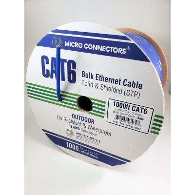 Micro Connectors 1000 ft. Blue Solid Shielded (STP) CAT6 Outdoor UV Resistant Bulk Ethernet Cable