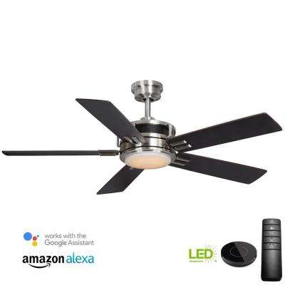 Windlow 52 in. LED Brushed Nickel Ceiling Fan with Light Kit works with Google Assistant and Alexa