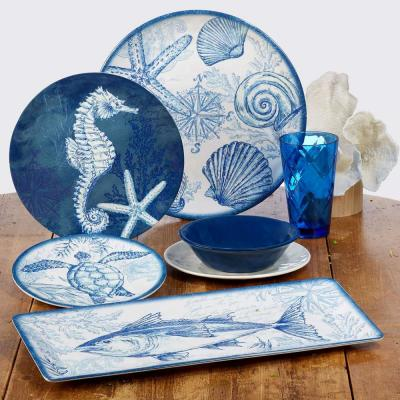 Oceanic 3-Piece Multi-Colored Earthenware Service Set for 3 Hostess Set