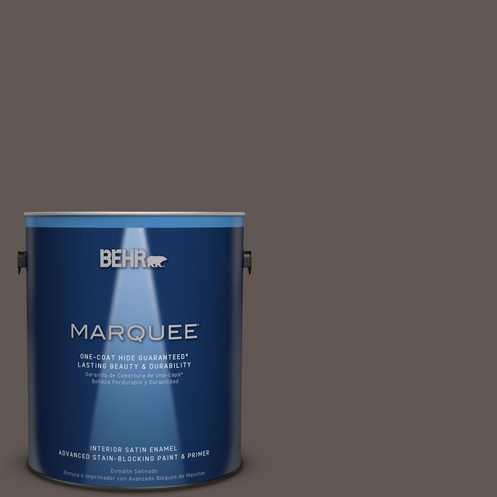 1 gal. #N140-7 Timber Brown One-Coat Hide Satin Enamel Interior Paint