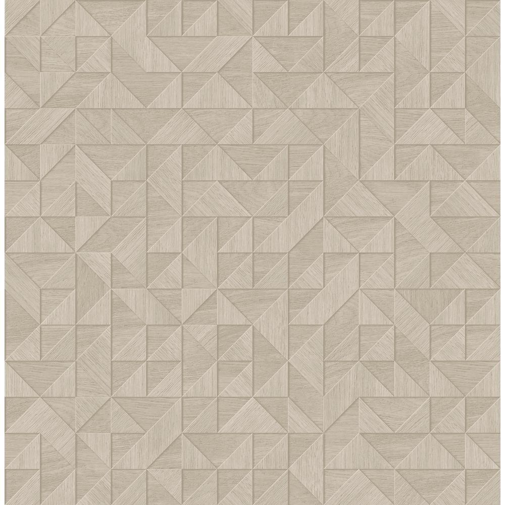 A Street 56 4 Sq Ft Gallerie Beige Geometric Wood Wallpaper 2908 25328 The Home Depot