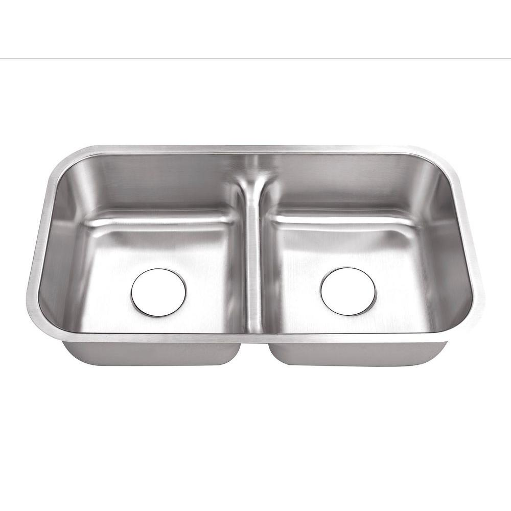 Belle Foret Undermount Stainless Steel 32 In. 0 Hole 50/50 Double Bowl  Kitchen Sink BFM3218LD   The Home Depot