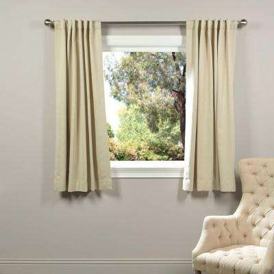 Semi-Opaque Egg Nog Ivory Blackout Curtain - 50 in. W x 63 in. L (Panel)