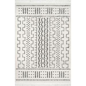 Sophie Modern Moroccan Shag Off-White 9 ft. x 12 ft. Area Rug