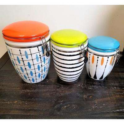 Luminescent 3-Piece Stone Canister Set