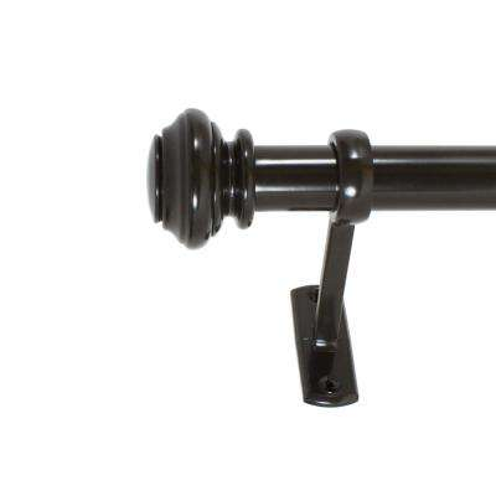 1 in. Knob Outdoor Drapery Single Rod Set, 42 in. - 120 in. in Oil Rubbed Bronze