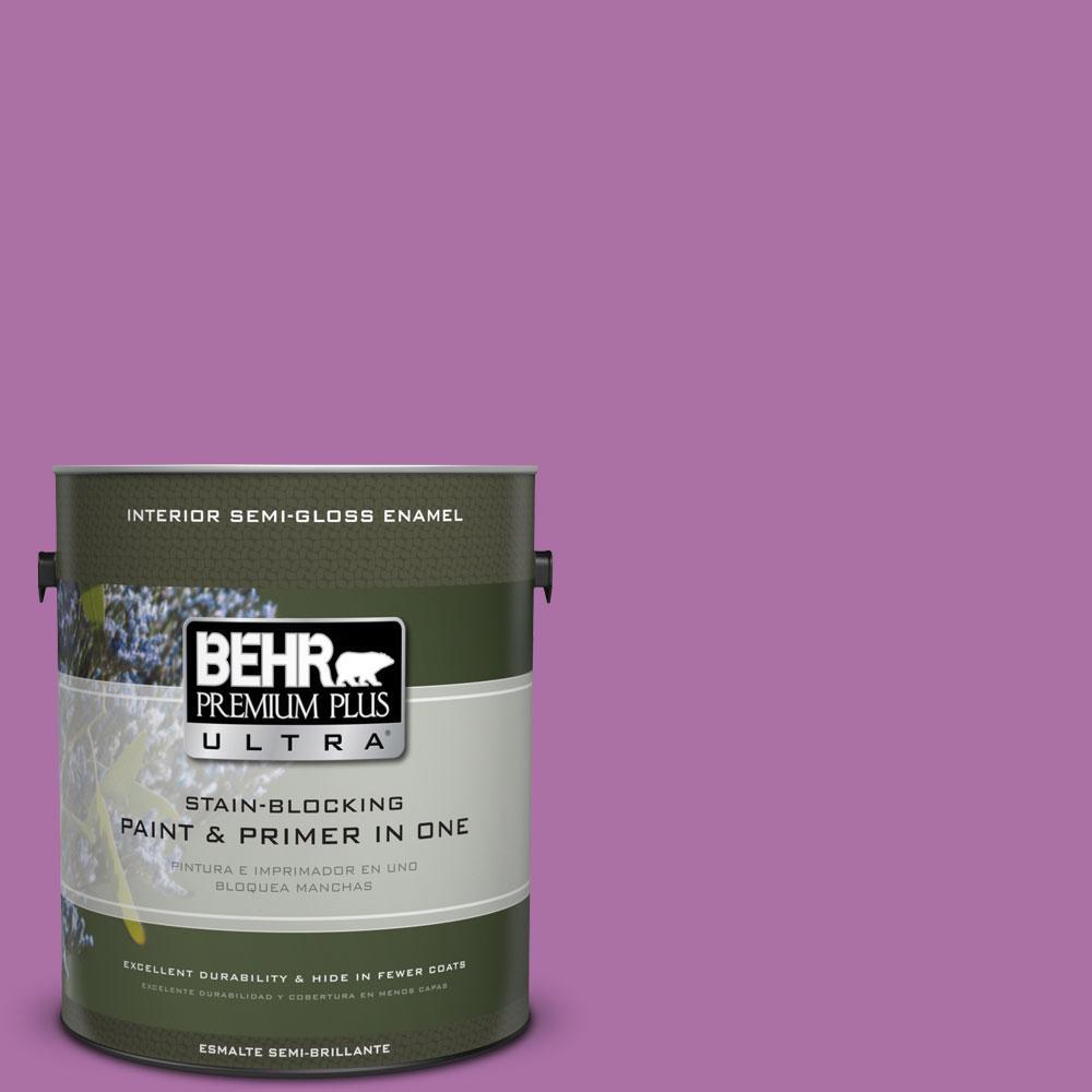 BEHR Premium Plus Ultra 1-gal. #670B-6 Orchid Kiss Semi-Gloss Enamel Interior Paint