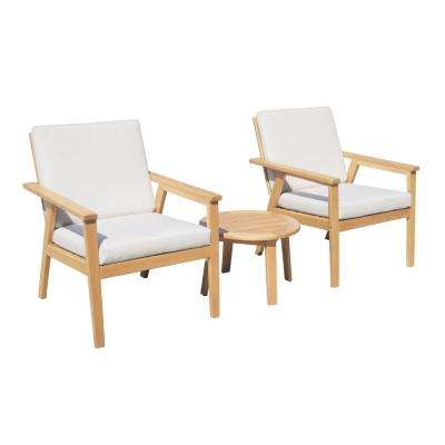Anglesea Natural 3-Piece Wooden Patio Conversation Set with Linen Beige Cushions