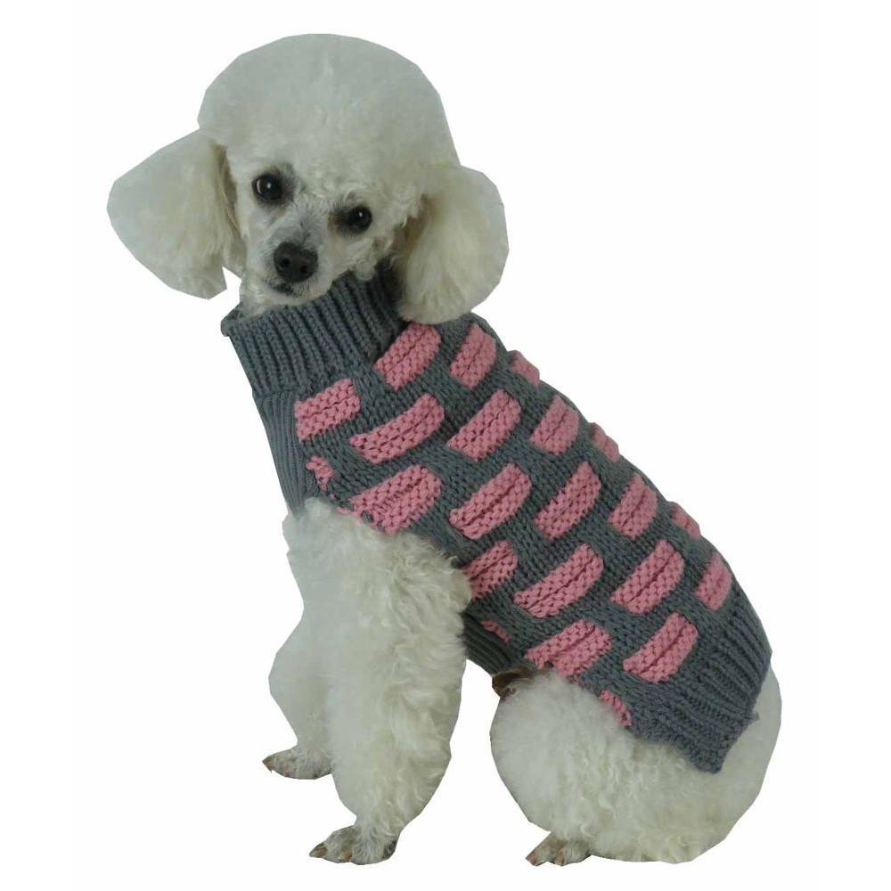Medium Pink and Grey Fashion Weaved Heavy Knit Designer Ribbed Turtle Neck Dog Sweater