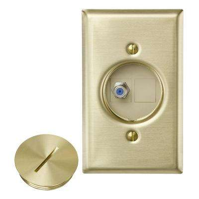 QuickPort F Connector Floor Jack Assembly with 1-Jack 1-Blank Insert Wallplate and Screw Cap, Brass