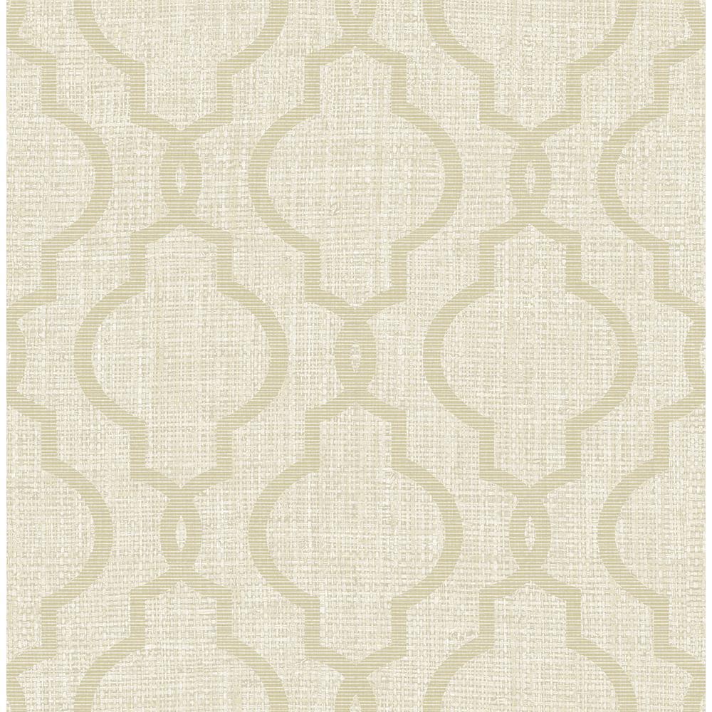 Geometric Jute Taupe Quatrefoil Wallpaper