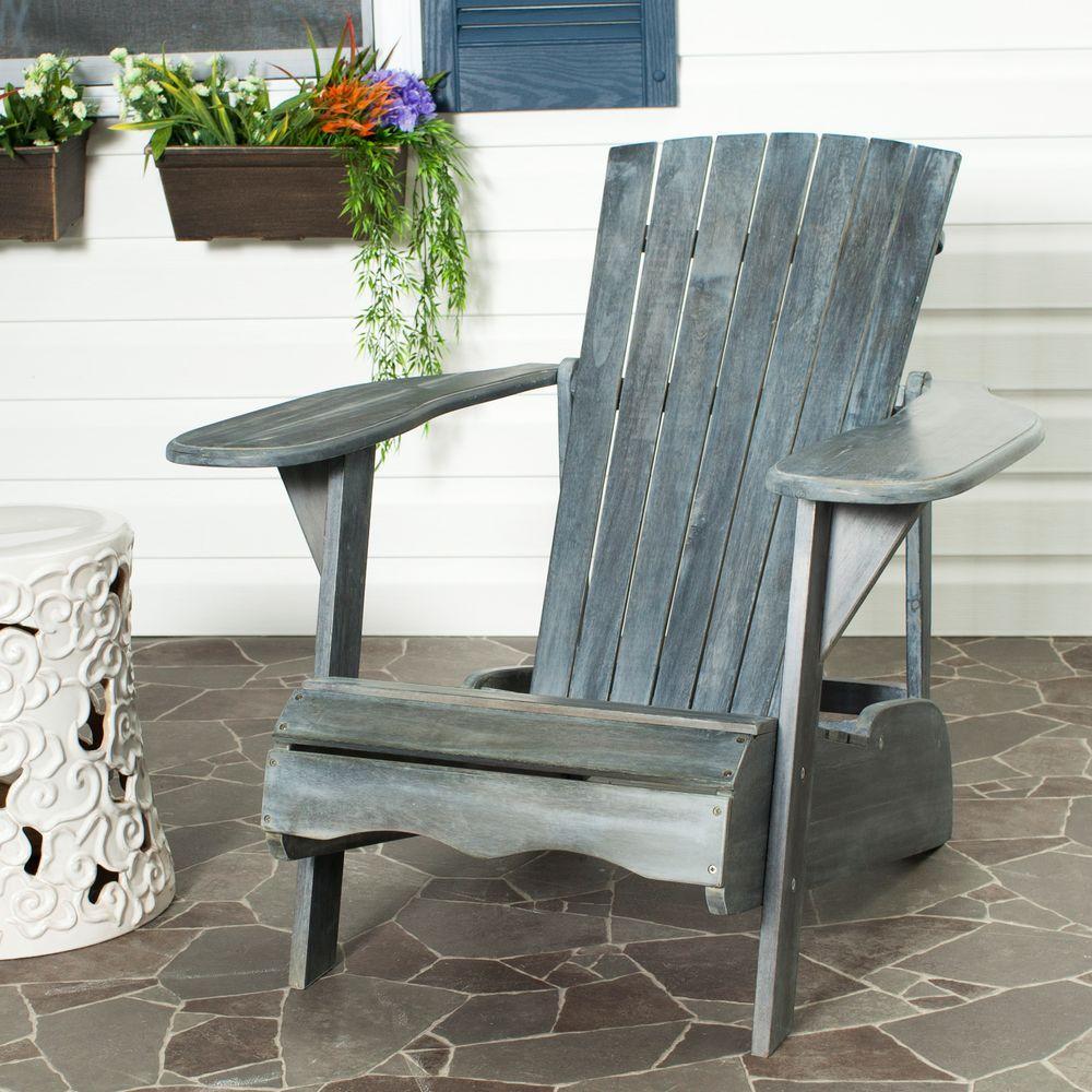 Patio Lounge Chair Ash Gray Adirondack Outdoor Furniture Garden Seat