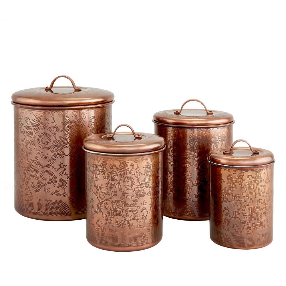 4-Piece, Avignon Antique Copper Etched Canister Set