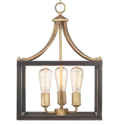 Boswell Quarter 3-Light Vintage Brass Pendant with Painted Black Distressed Wood Accents