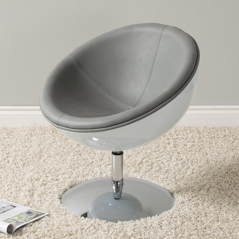 CorLiving Mod Modern Grey And White Bonded Leather Swivel Circular Chair