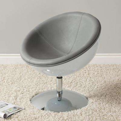Mod Modern Grey and White Bonded Leather Swivel Circular Chair