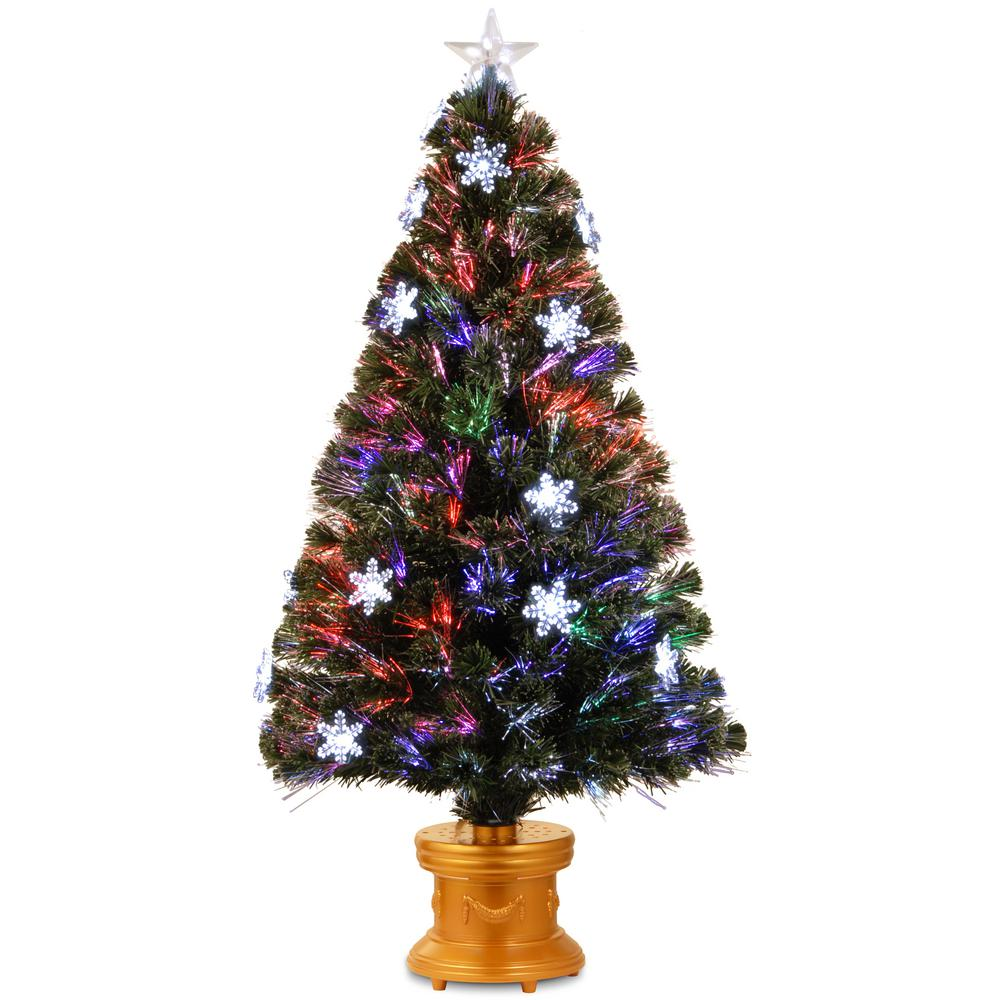 Fiberoptic Christmas Tree.National Tree Company 4 Ft Fiber Optic Fireworks Artificial Christmas Tree With Snowflakes